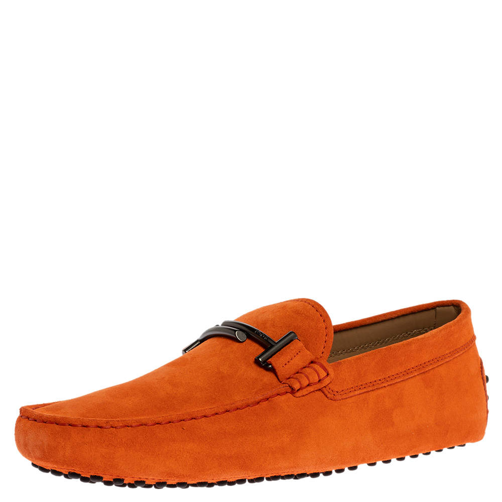 Tod's Orange Suede Leather Double T Slip On Loafers Size 43
