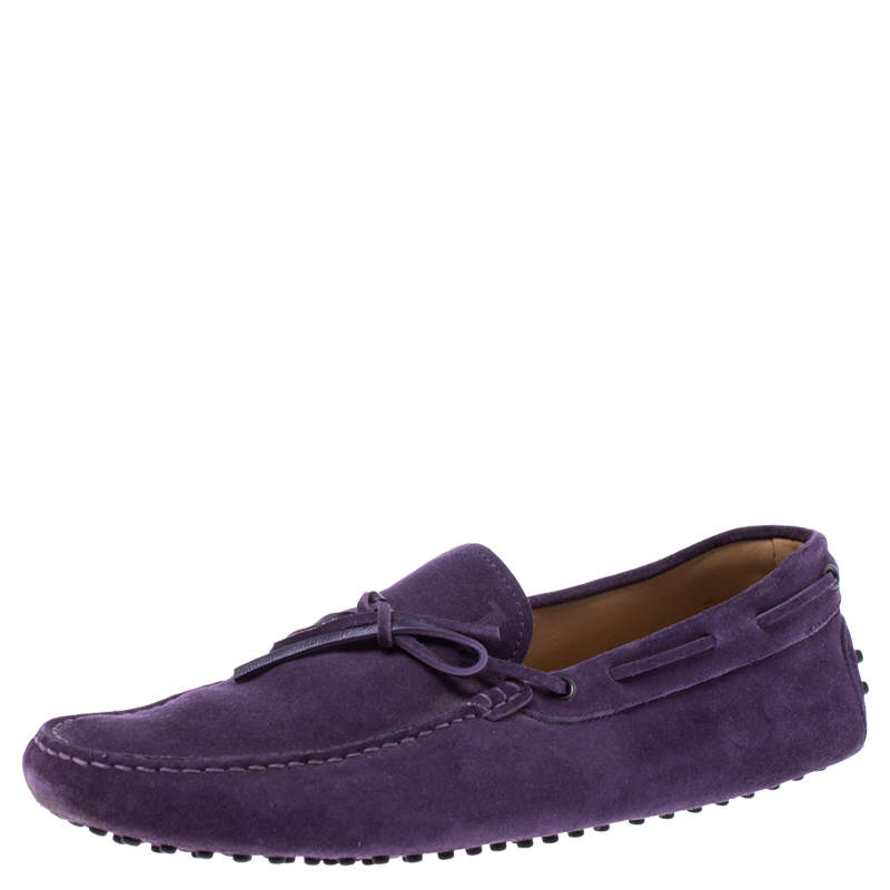 Tod's Purple Suede Leather Bow Slip On Loafers Size 45.5