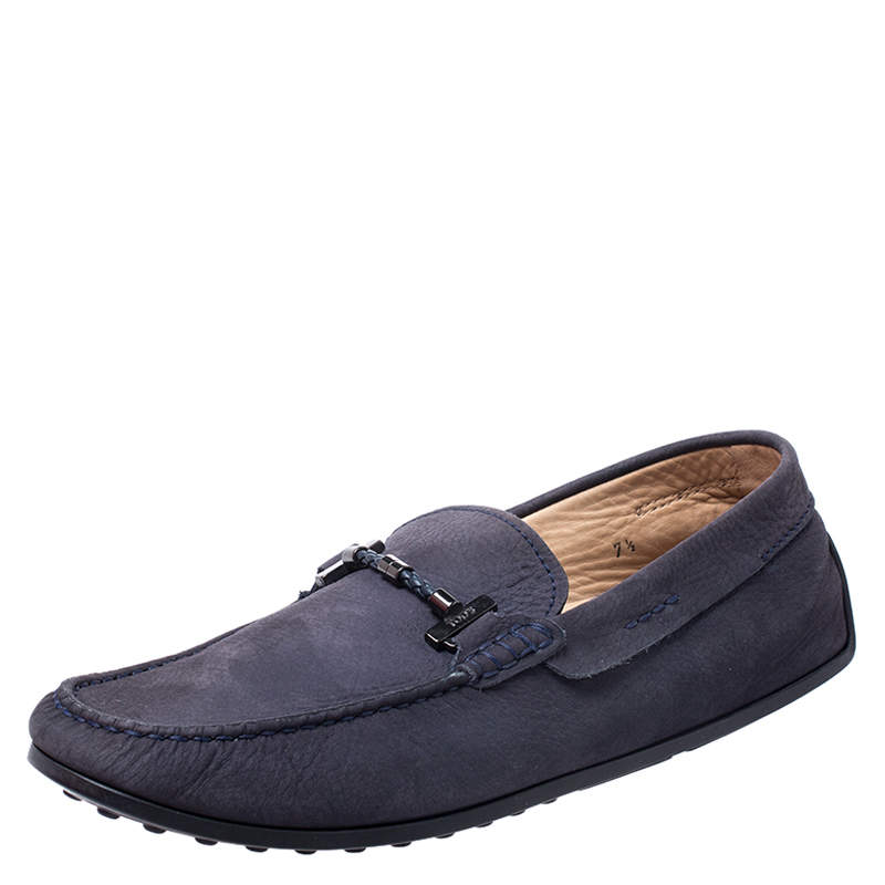 Tod's Blue Nubuck Braided Bit Loafers Size 41.5