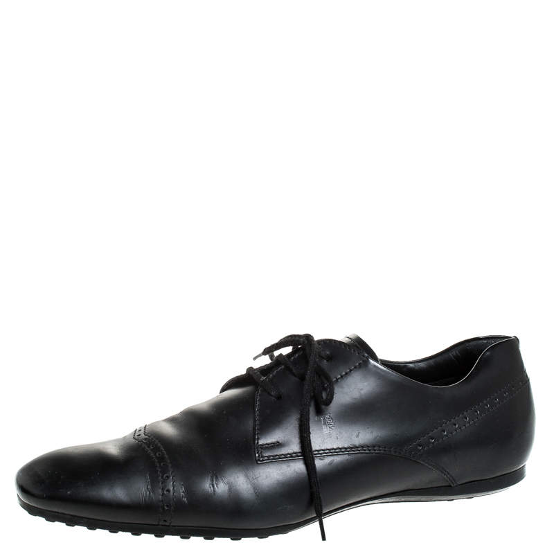 Tod's Black Leather Brogue Detail Lace Up Derby Size 43
