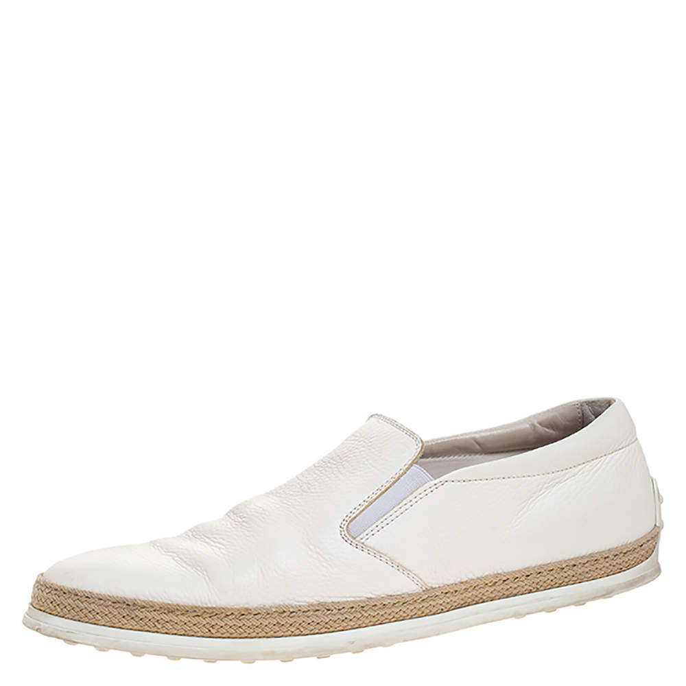 Tod's White Leather Slip On Sneakers Size 45.5