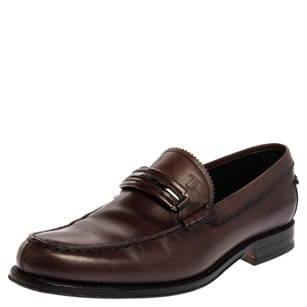 Tod's Brown Leather Penny Slip On Loafers Size 41