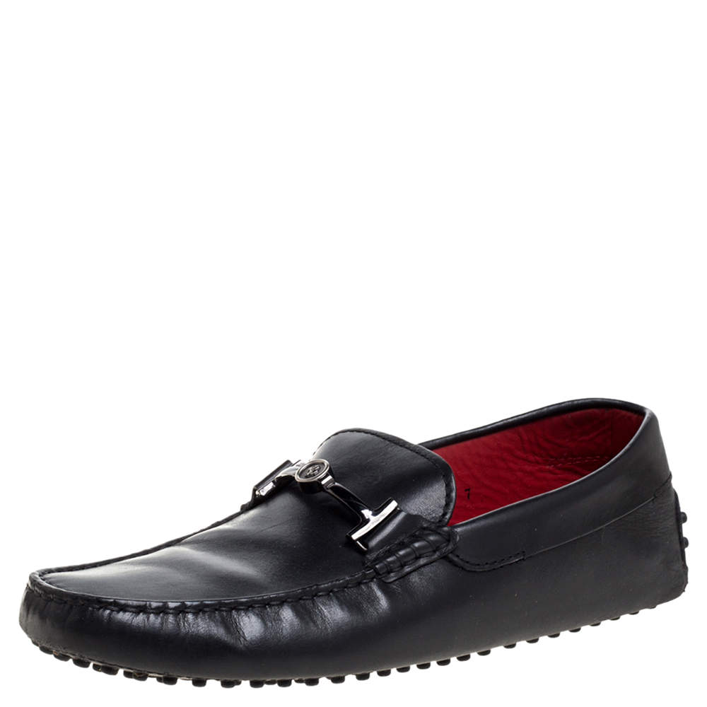 Tod's for Ferrari Black Leather Loafers Size 41