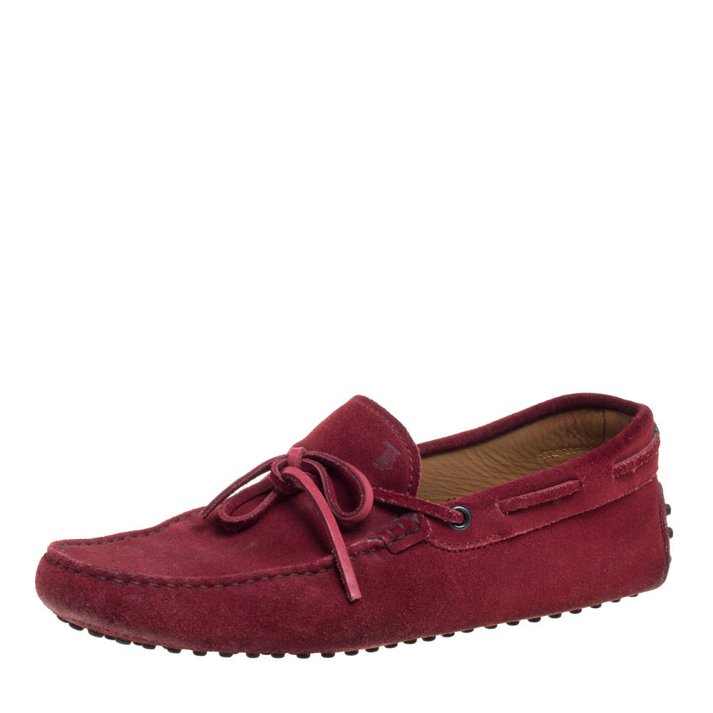 Tod's Burnt Red Suede City Gommino Bow Loafers Size 40