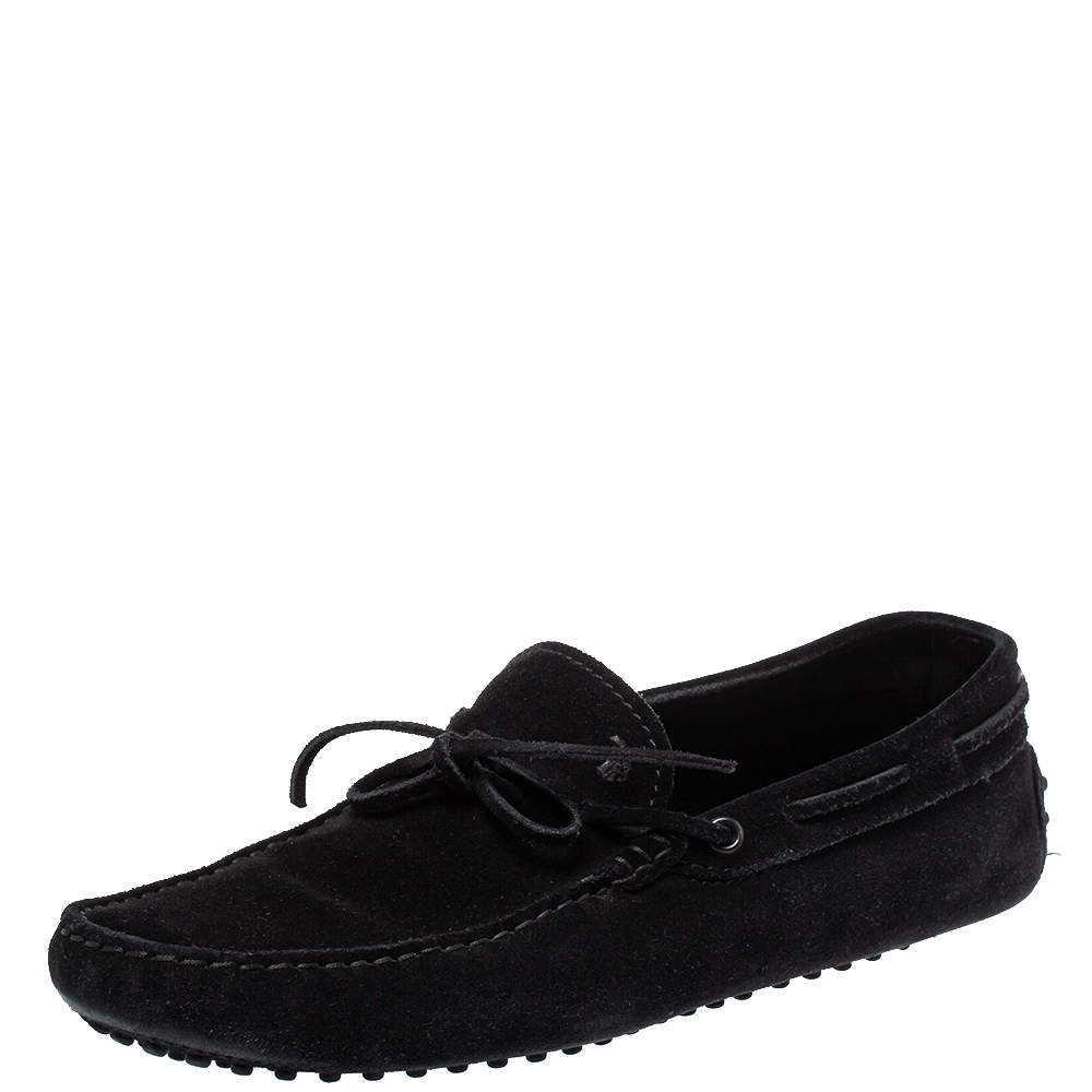 Tod's Black Suede Gommino Slip On Loafers Size 42.5