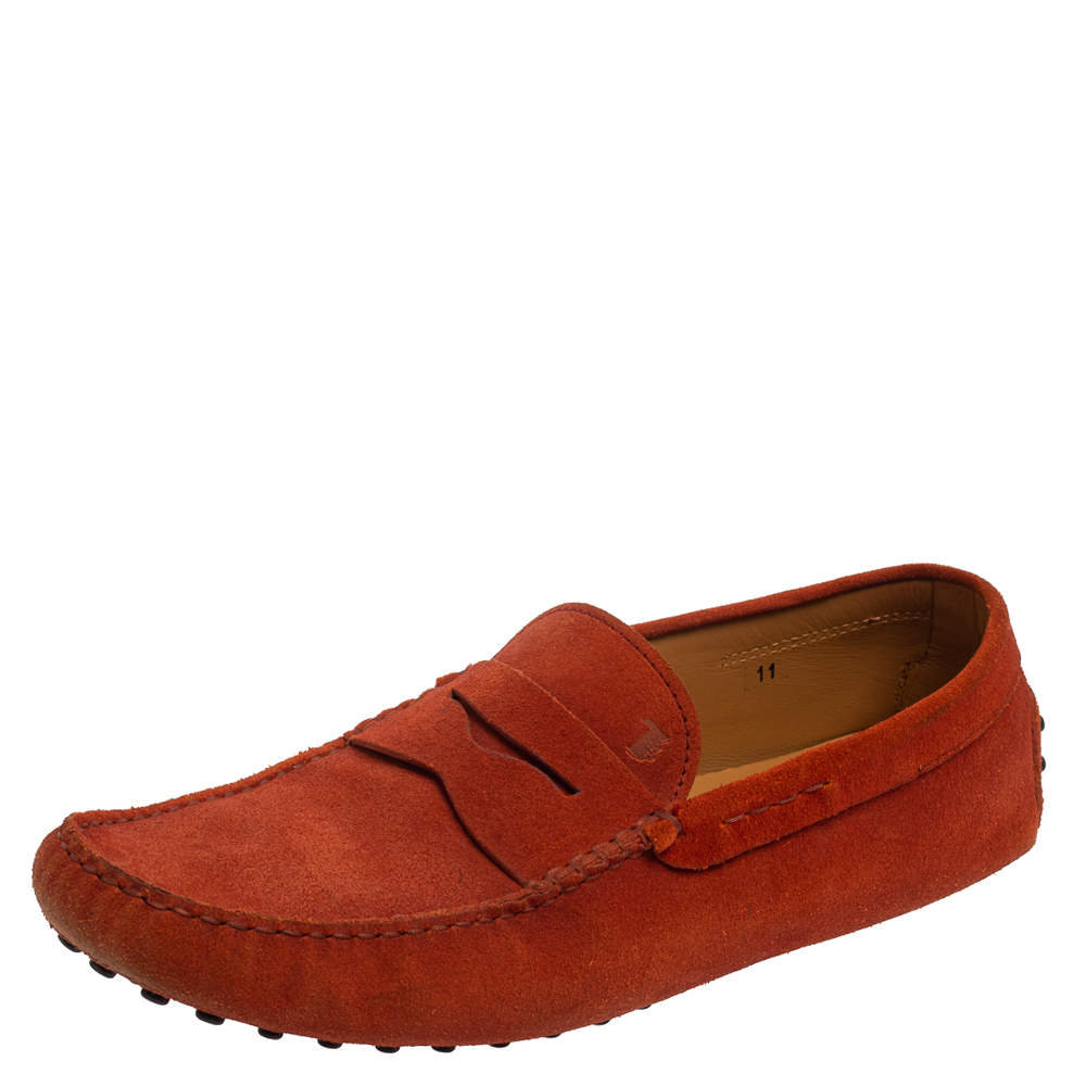Tod's Orange Suede Gommino Driving Slip On Loafers Size 45.5