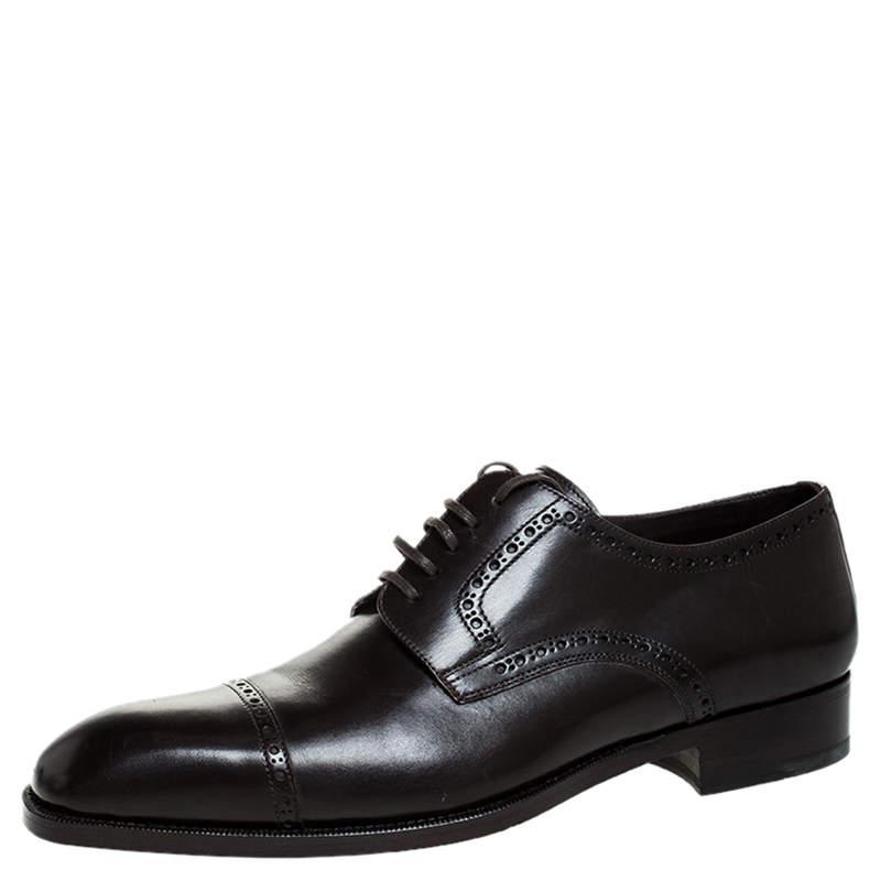 حذاء أوكسفورد توم فورد رباط علوي جلد بني مقاس 45