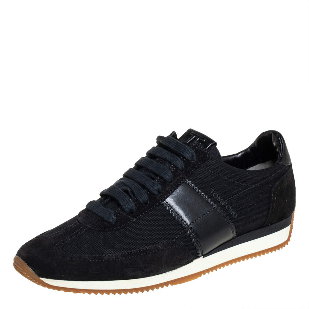 Tom Ford Navy Blue/Black Canvas And Suede Low Top Sneakers Size 41