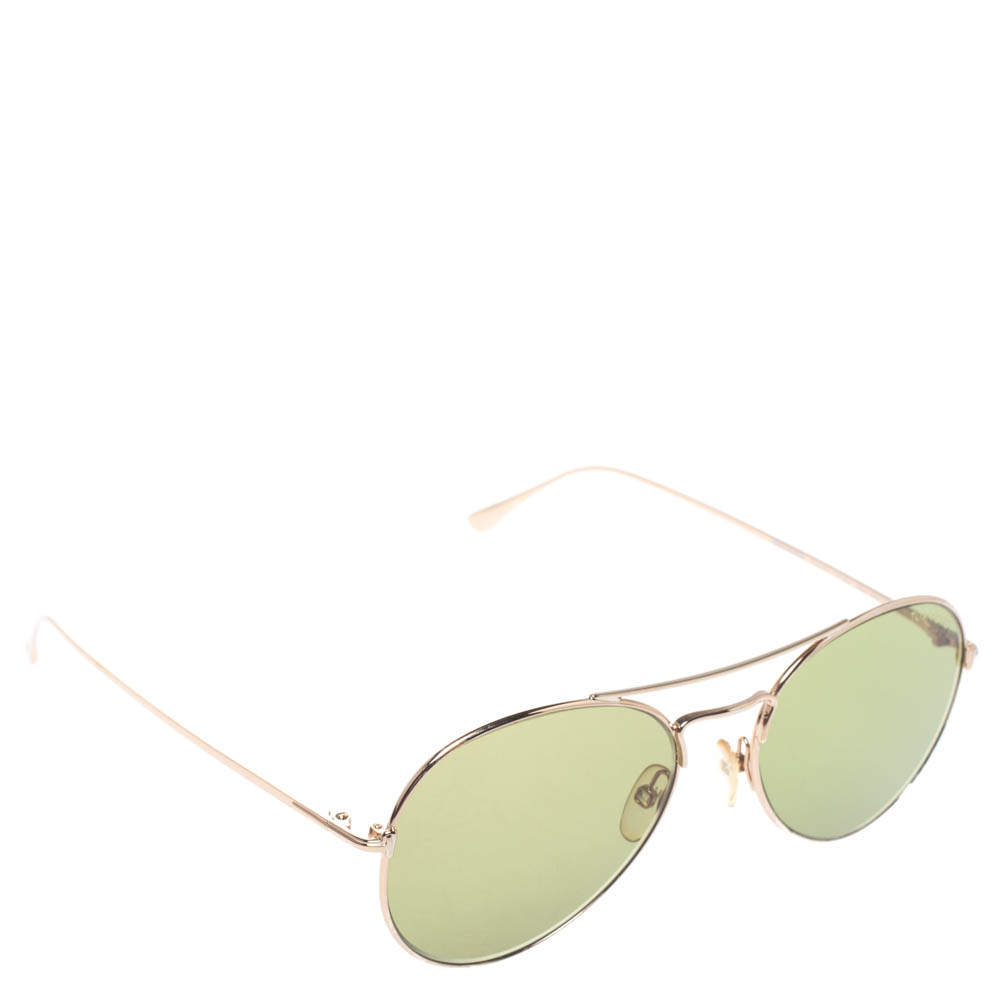 نظارة شمسية توم فورد أفياتور تي أف551 خضراء/ لون ذهب وردي