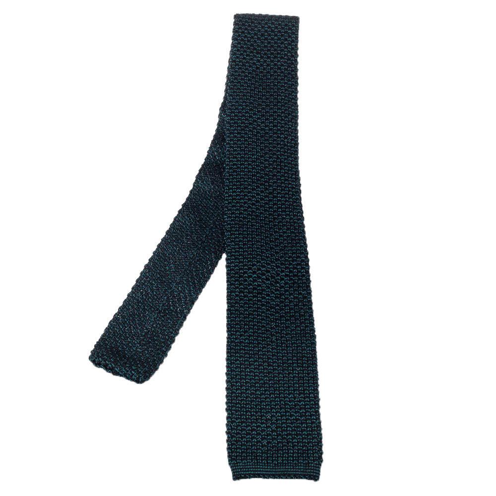 Tom Ford Green Silk Wool Crochet Knit Tie