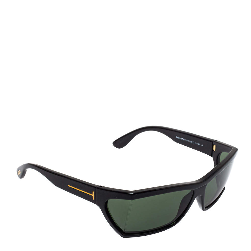 Tom Ford Black / Green TF401 Sasha Rectangular Sunglasses