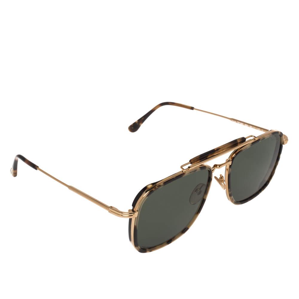 نظارة شمسية توم فورد هاك TF665  أخضر وذهبي مربعة
