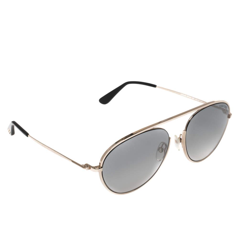 نظارة شمسية توم فورد أفياتور متدرجة كيث-20 تي أف599 فضي/ رمادي
