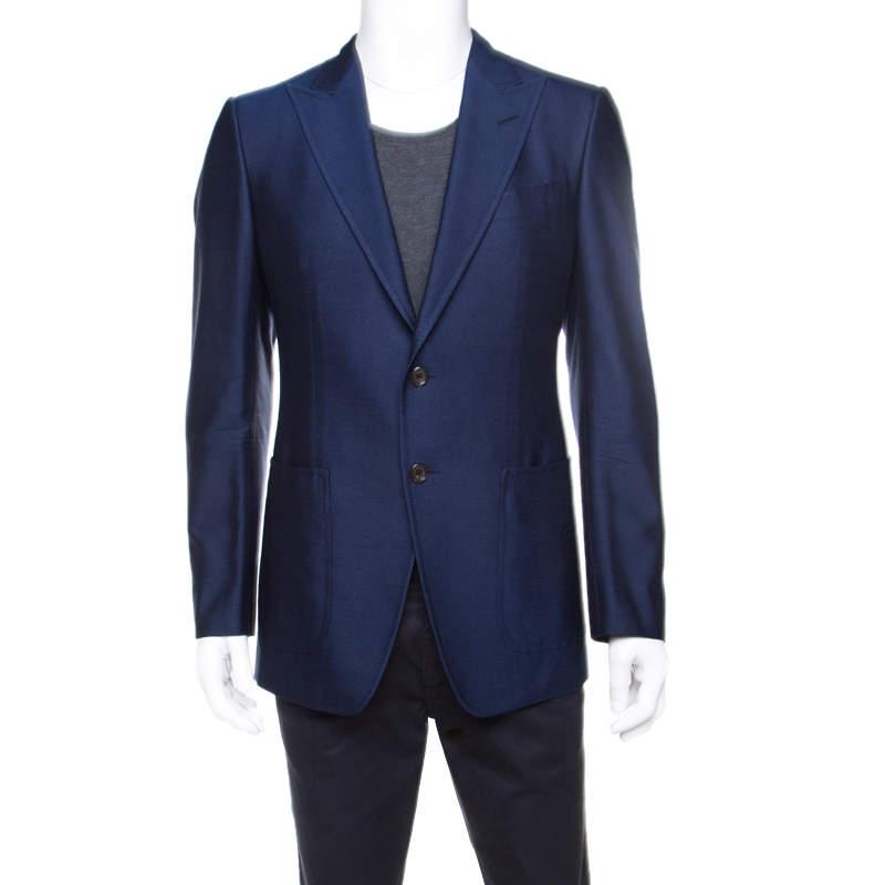 Tom Ford Royal Blue Silk Twill Tailored Blazer M