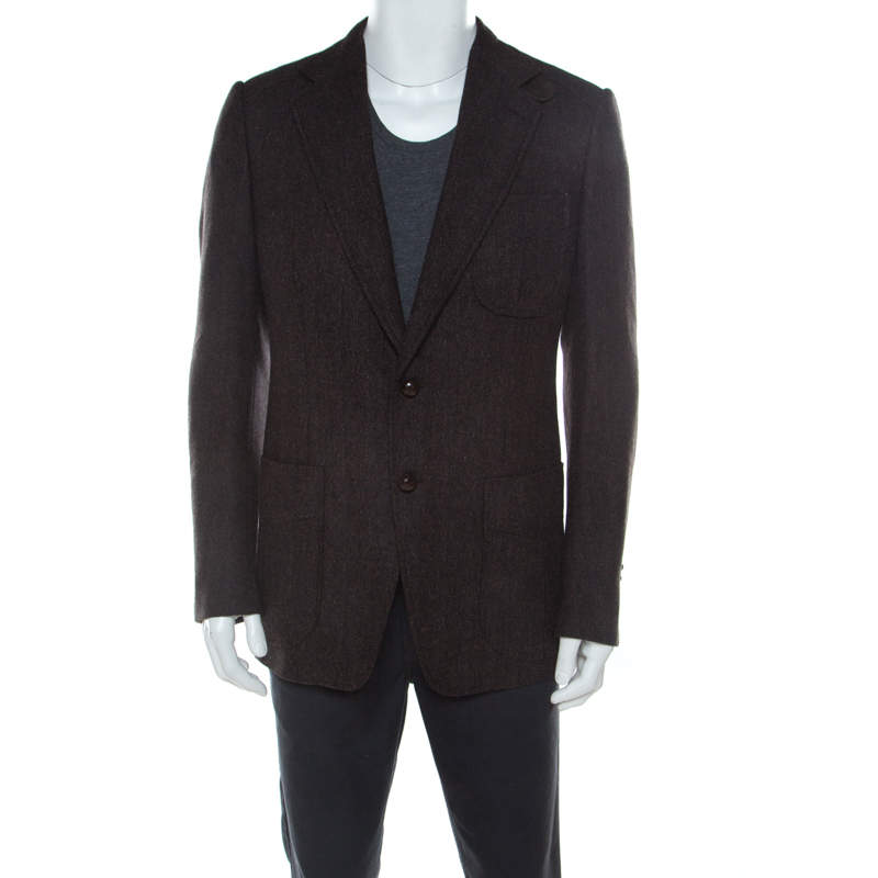 Tom Ford Brown Regular Fit Elbow Patch Wool Blazer L