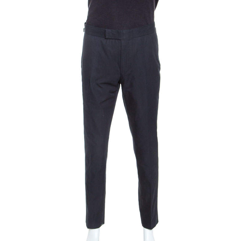 Tom Ford Navy Blue Cotton Twill Atticus Trousers XL