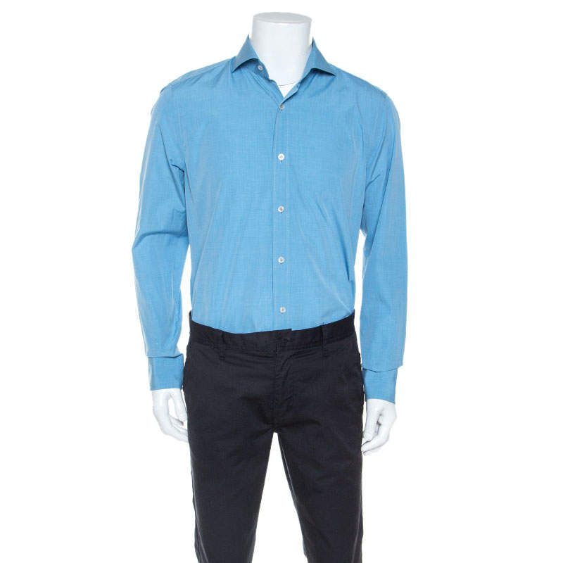 Tom Ford Blue Pinpoint Cotton Classic Fit Shirt XL