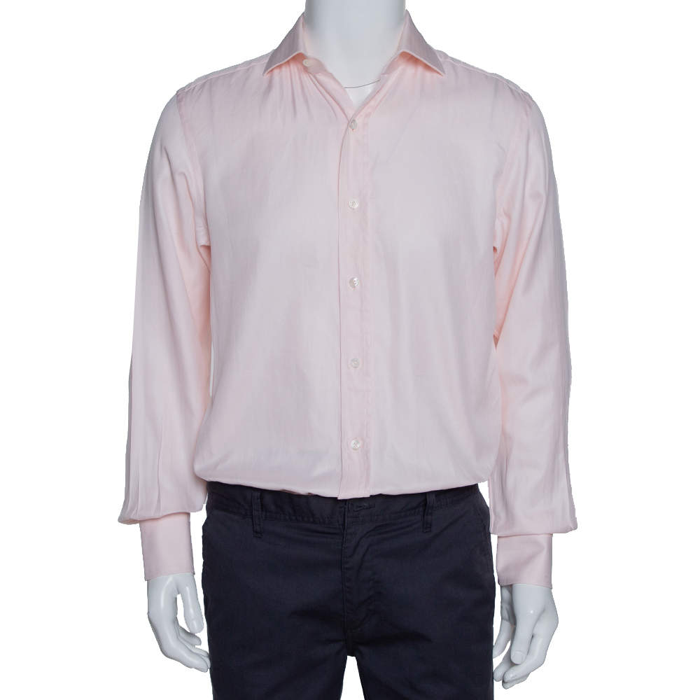 Tom Ford Pale Pink Cotton Herringbone Pattern Button Front Shirt M