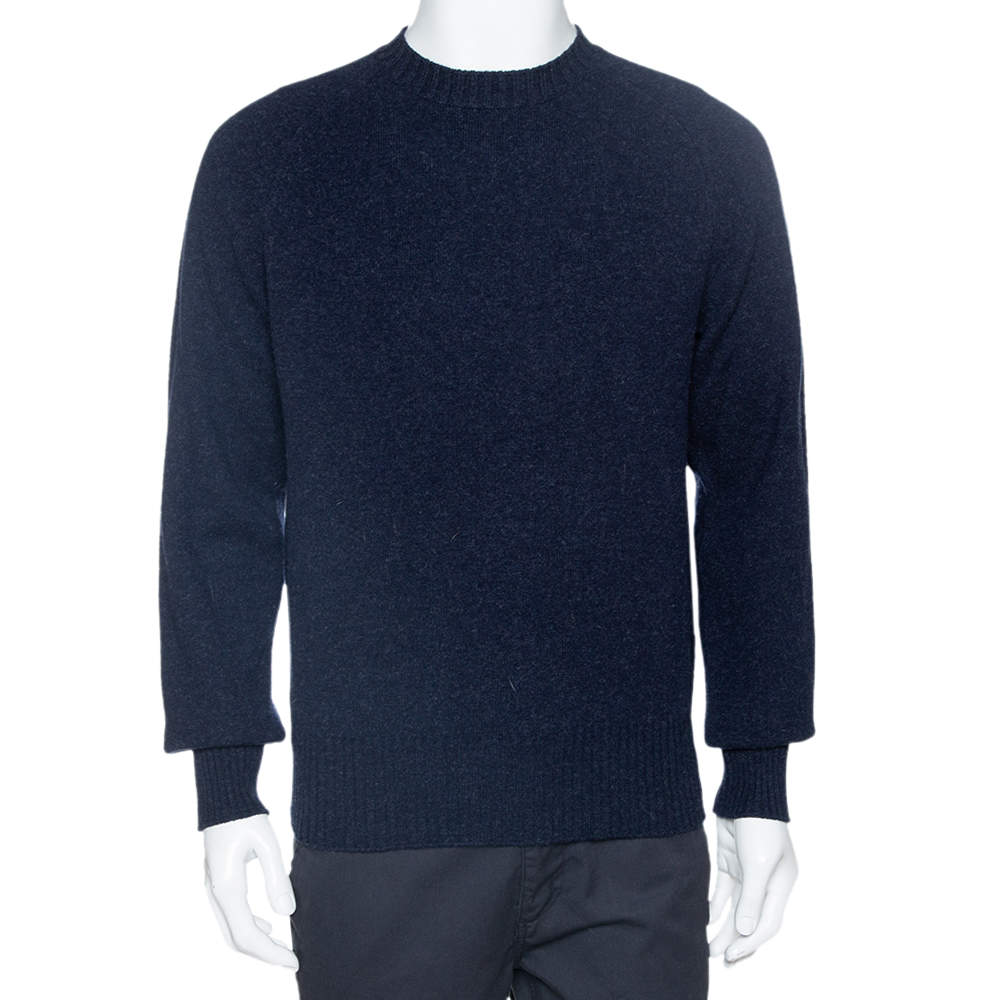 Tom Ford Navy Blue Wool Knit Crew Neck Pullover L