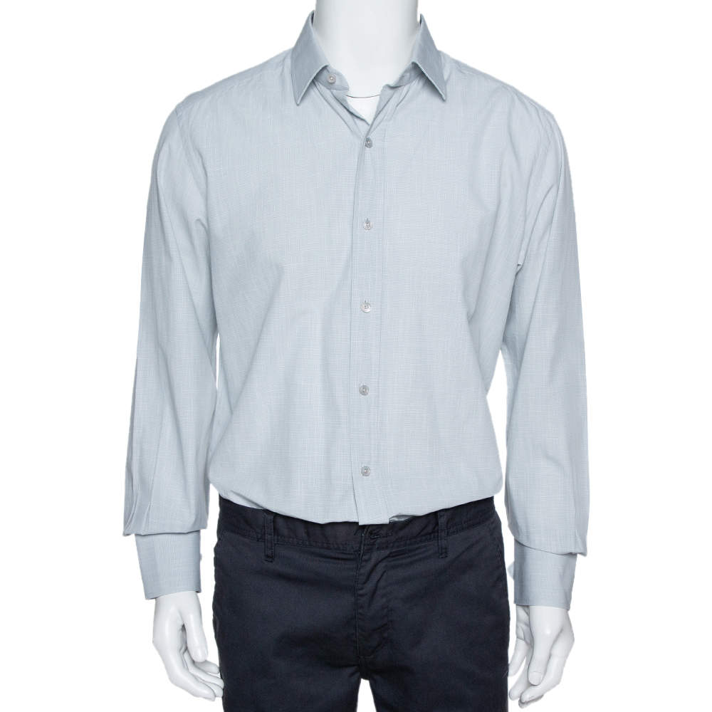 Tom Ford Pale Grey Micro Patterned Cotton Long Sleeve Shirt XXL