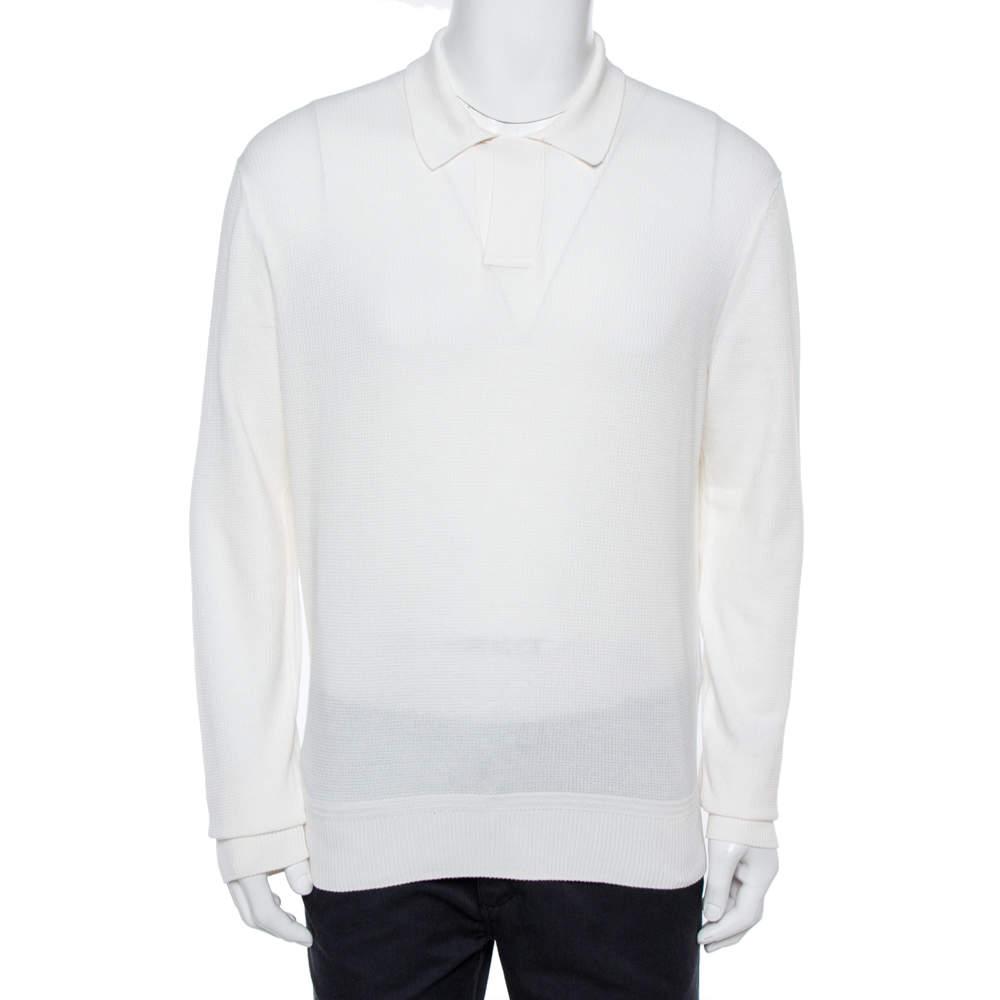 Tom Ford White Cotton Silk Blend Polo Sweater XXL
