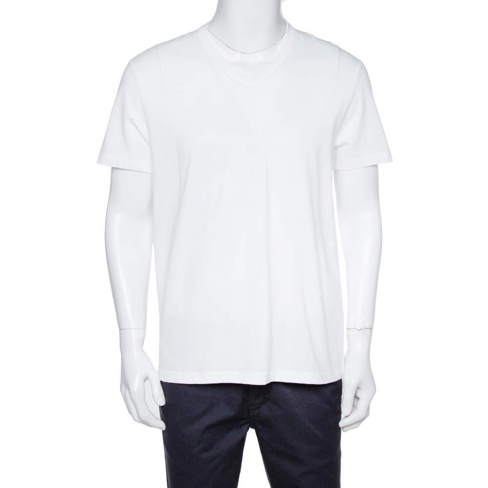 Tom Ford White Cotton Short Sleeve V-Neck T-Shirt XL