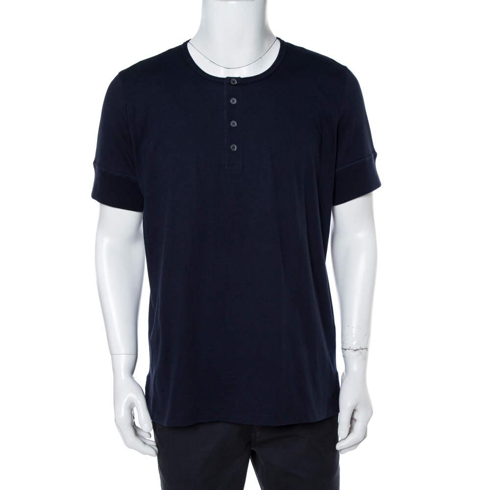 Tom Ford  Navy Blue Cotton Marl Jersey Henley T-Shirt 3XL