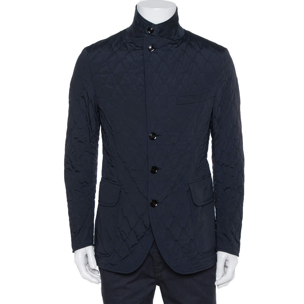 Tom Ford Navy Blue Synthetic Quilted Jacket L
