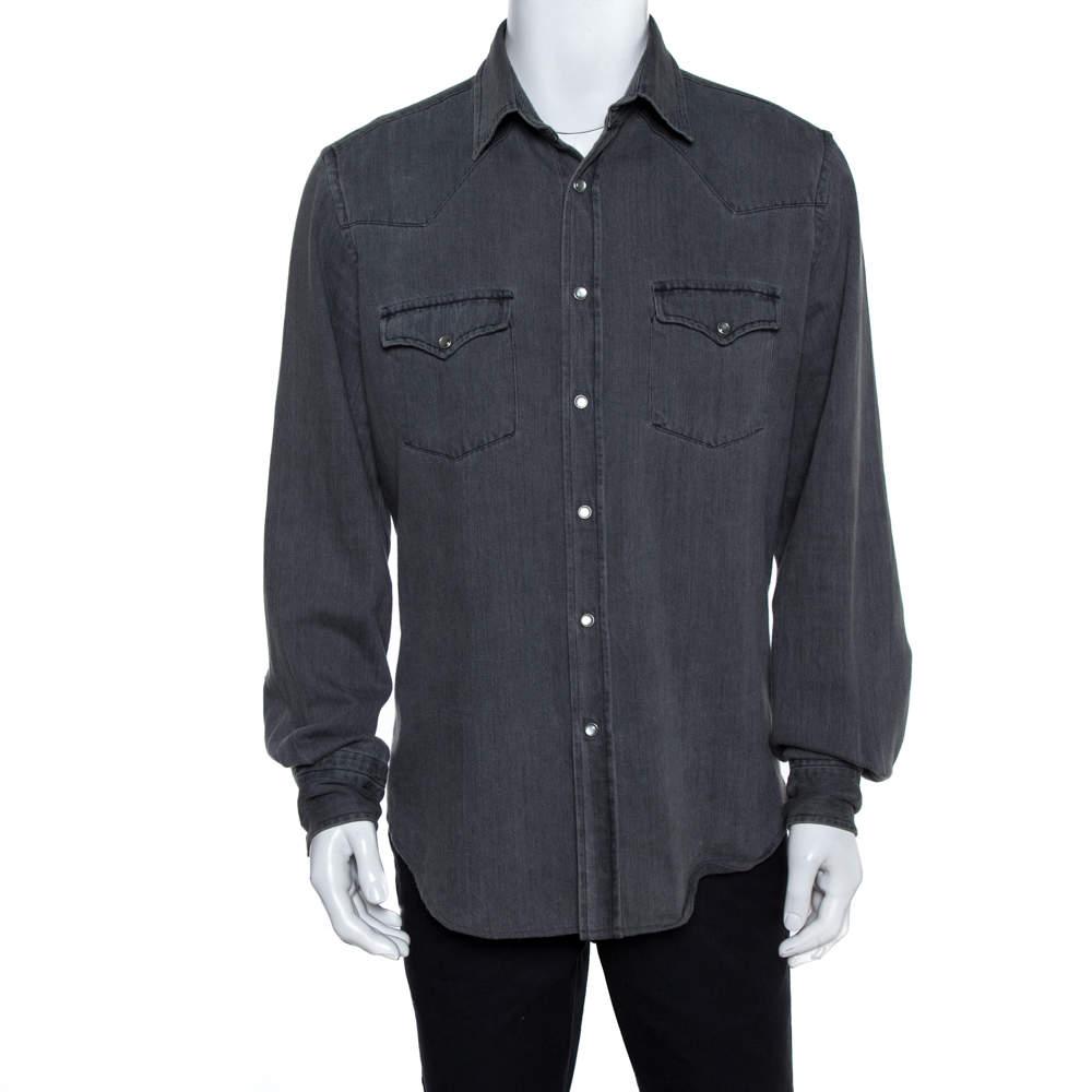 Tom Ford Grey Denim Button Front Long Sleeve Shirt XL
