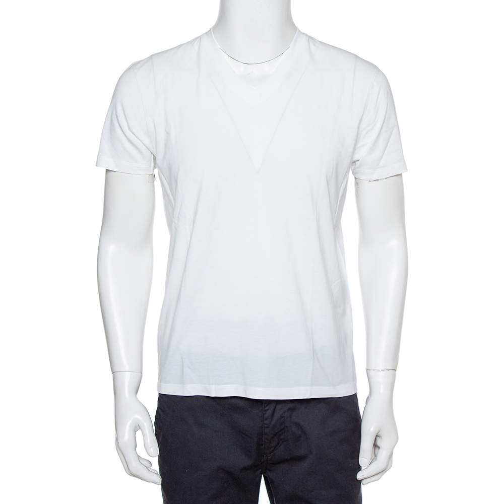 Tom Ford White Cotton V-Neck T-Shirt S