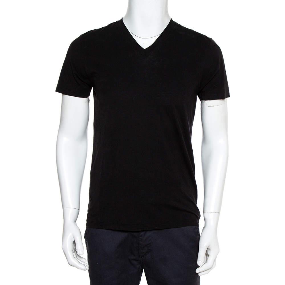Tom Ford Black Cotton V-Neck T-Shirt S