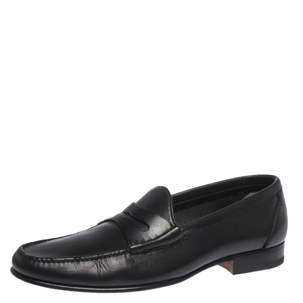 حذاء لوفرز توم فورد سليب أون بيني جلد أسود مقاس 42
