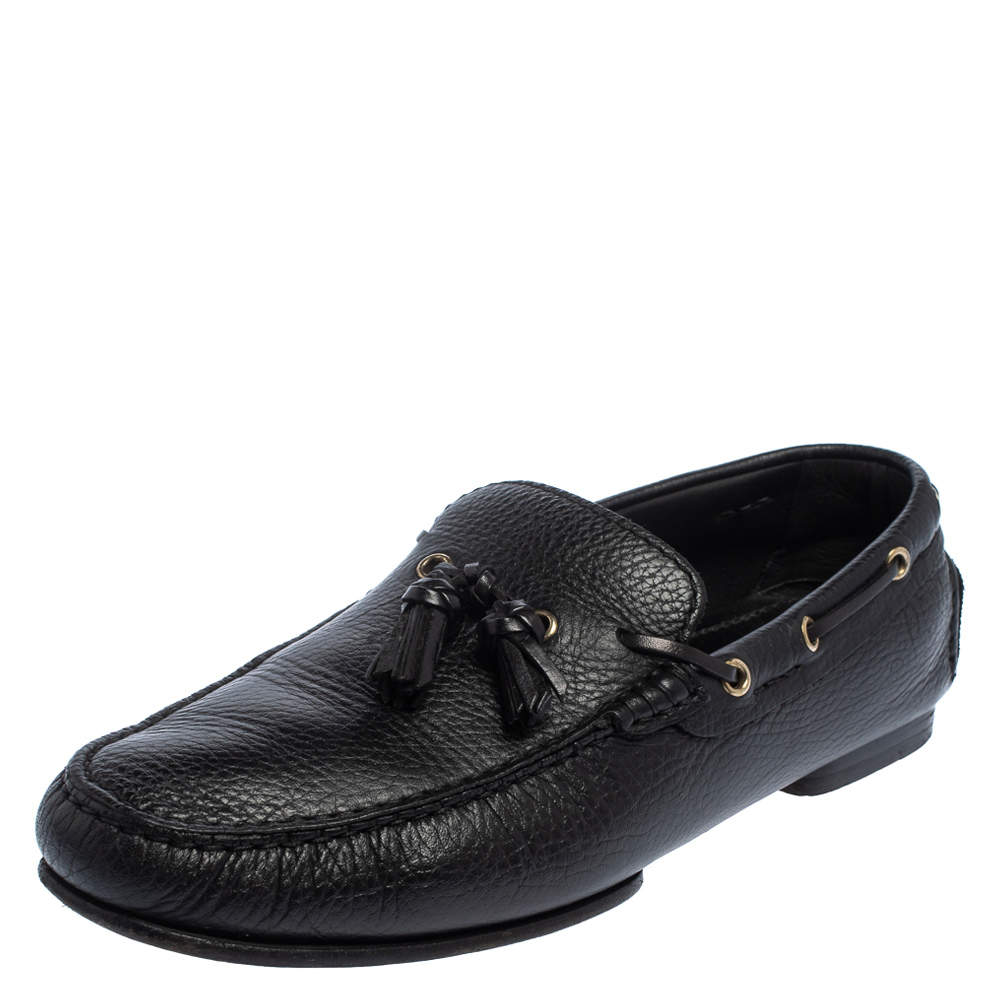 Tom Ford Black Leather Tassel Slip On Loafers Size 43