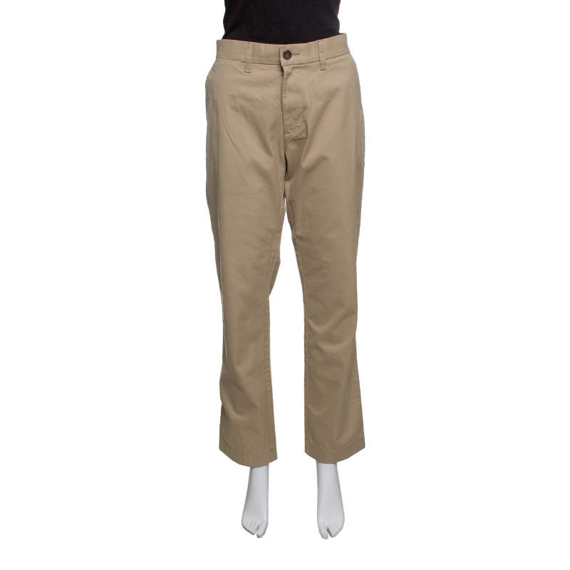 Tommy Hilfiger Beige Cotton Tailored Fit Chino Pants M