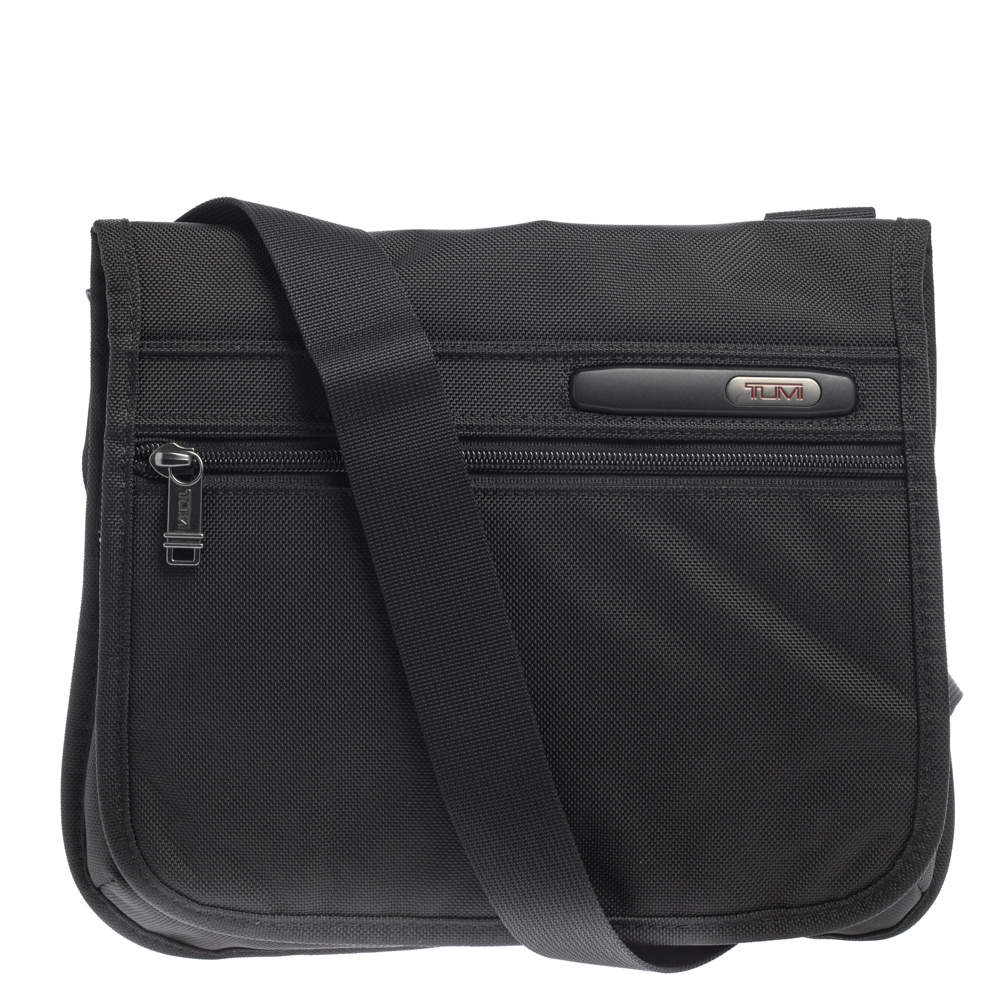 Tumi Black Nylon Small DFO Flap Messenger Bag