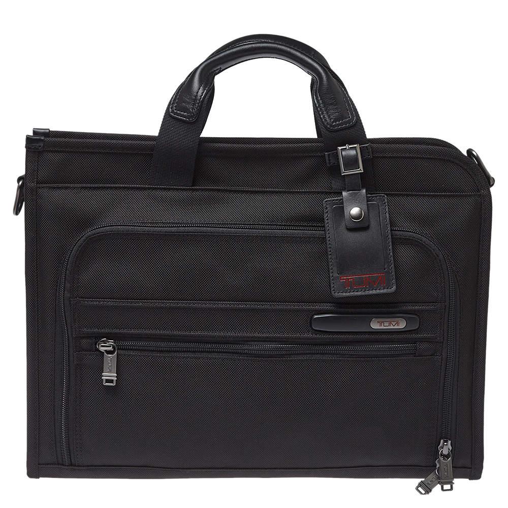 TUMI Black Nylon Gen 4.2 Slim Deluxe Portfolio Bag