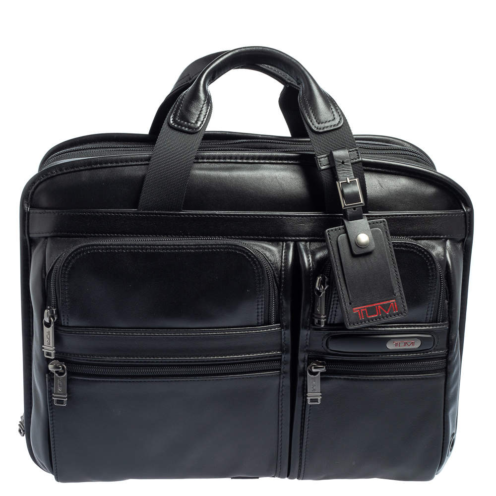 TUMI Black Leather Gen 4.2 Core T-Pass Expandable Laptop Briefcase