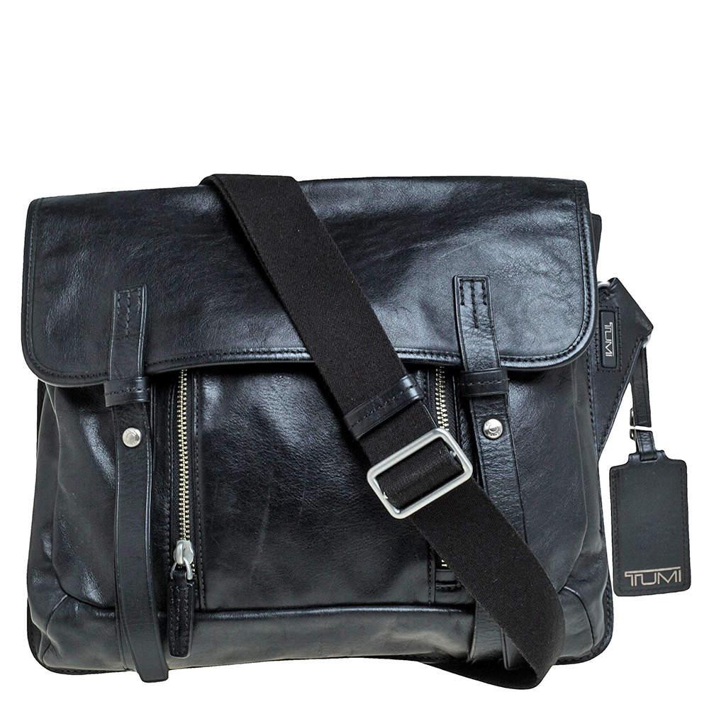 TUMI Black Leather Front Pocket Flap Messenger Bag
