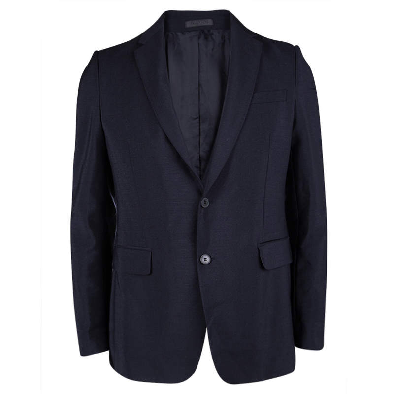 Valentino Navy Blue Wool Tailored Blazer S