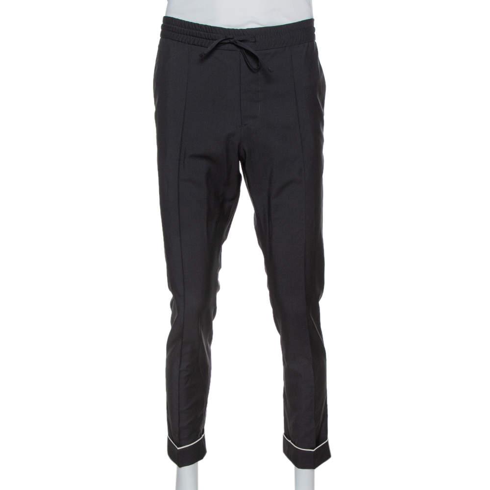 Valentino Black Mohair & Wool Cuffed Hem Pants M