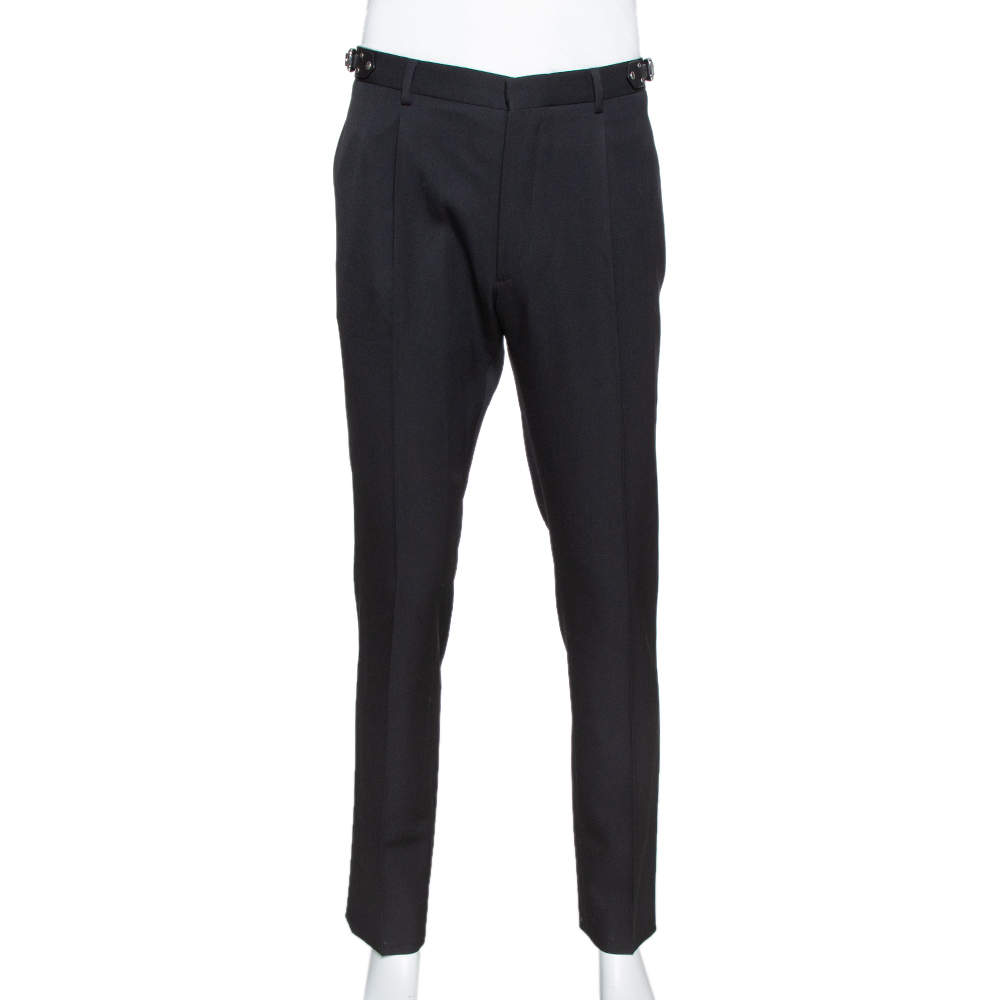 Valentino Black Wool Leather Trim Tailored Trousers XL