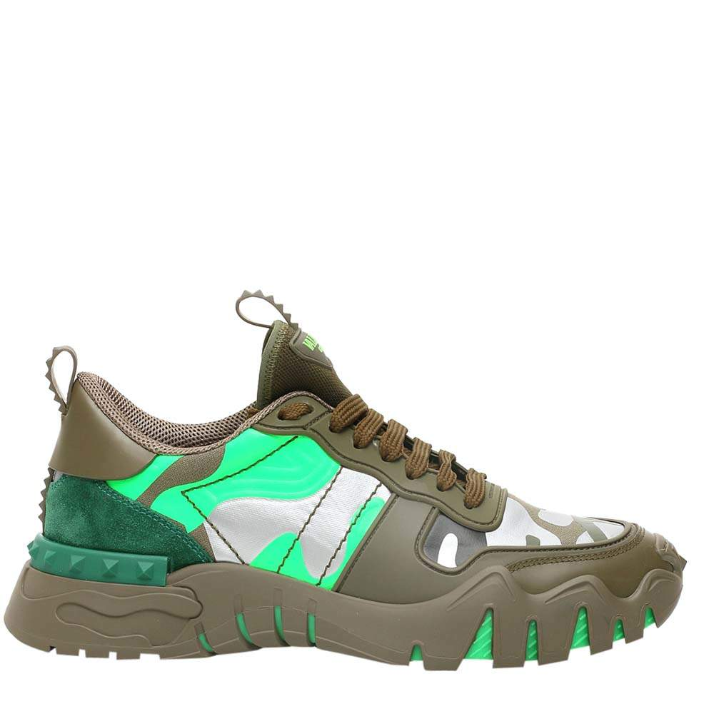 Valentino Garavani Army Green Leather Rockrunner Plus Sneakers Size 42