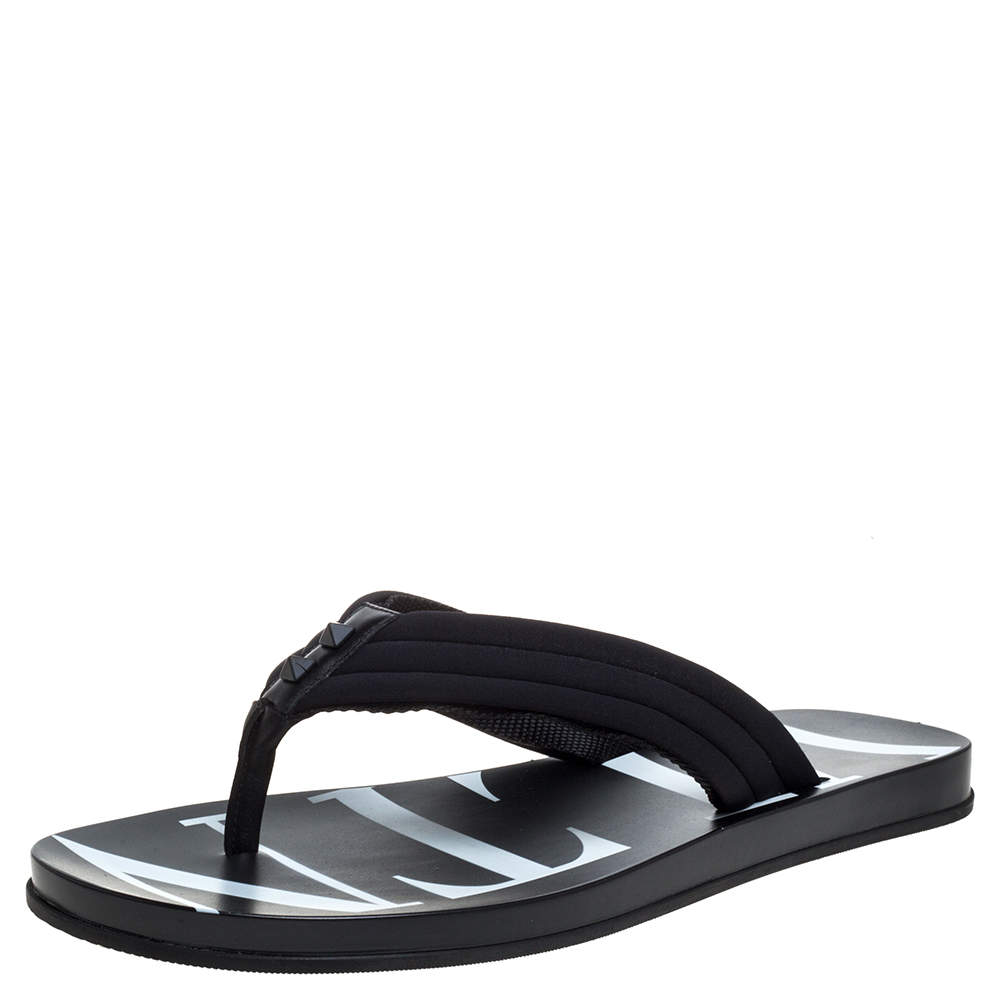 Valentino Black Fabric and Leather Trim VLTN Flip Flops Size 42