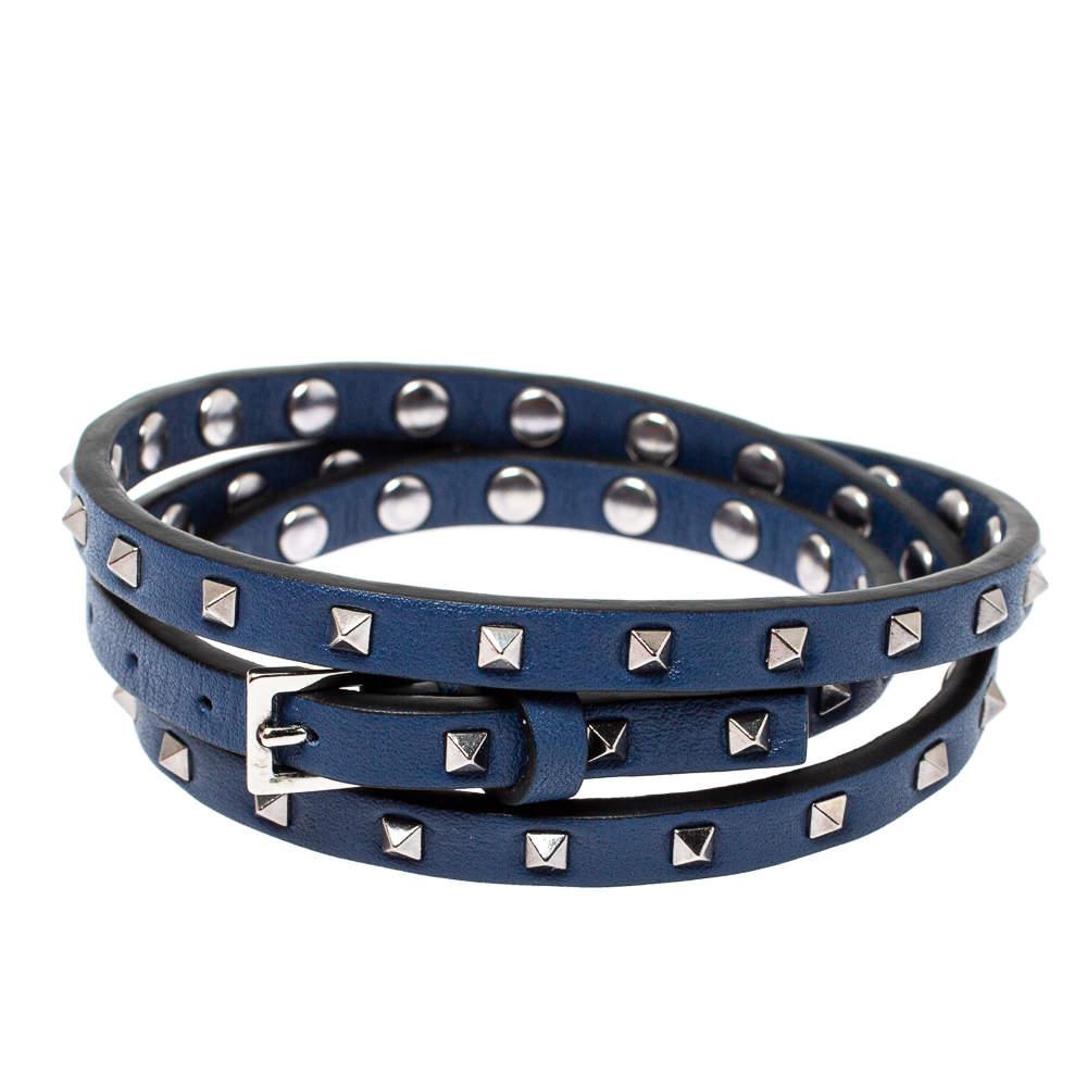 Valentino Rockstud Navy Blue Leather Multi Wrap Bracelet