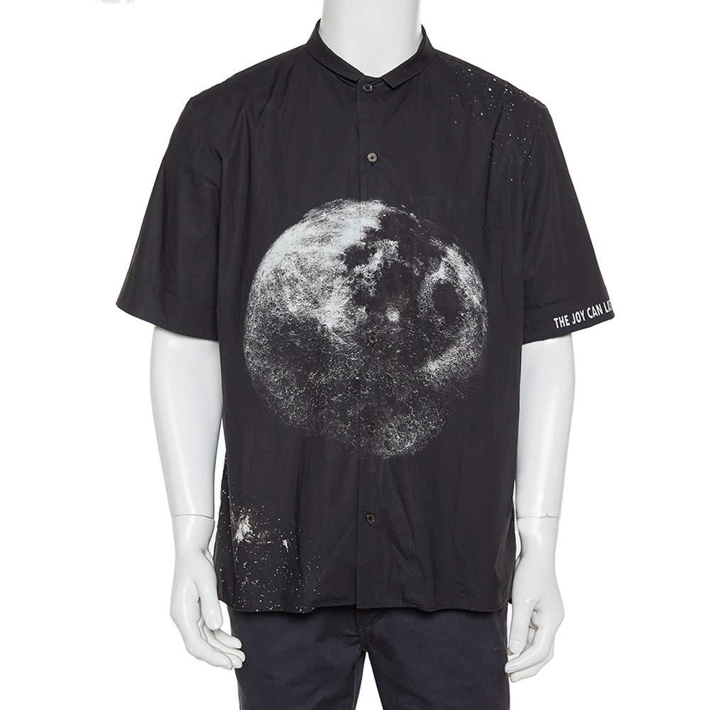 Valentino Black Moon Printed Cotton Bowling Shirt XL