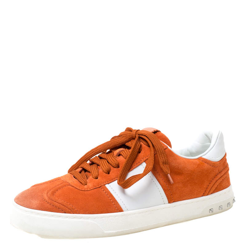 Valentino Orange Suede And White Leather Flycrew Low Top Sneakers Size 40