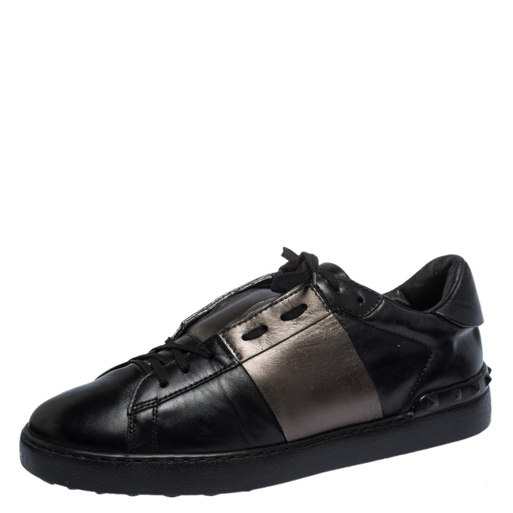 Valentino Black Leather Rockstud Lace Low Top Sneakers Size 43