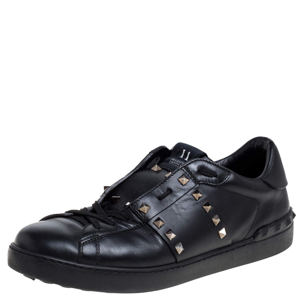 Valentino Black Leather Studded Low Top Sneakers Size 43