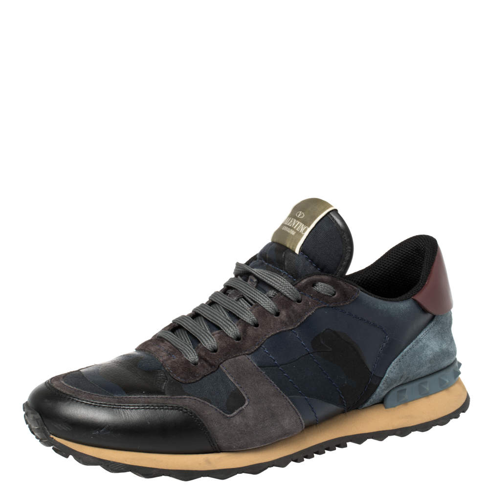 Valentino Black Suede Leather And Mesh Rockrunner Low Top Sneakers Size 43