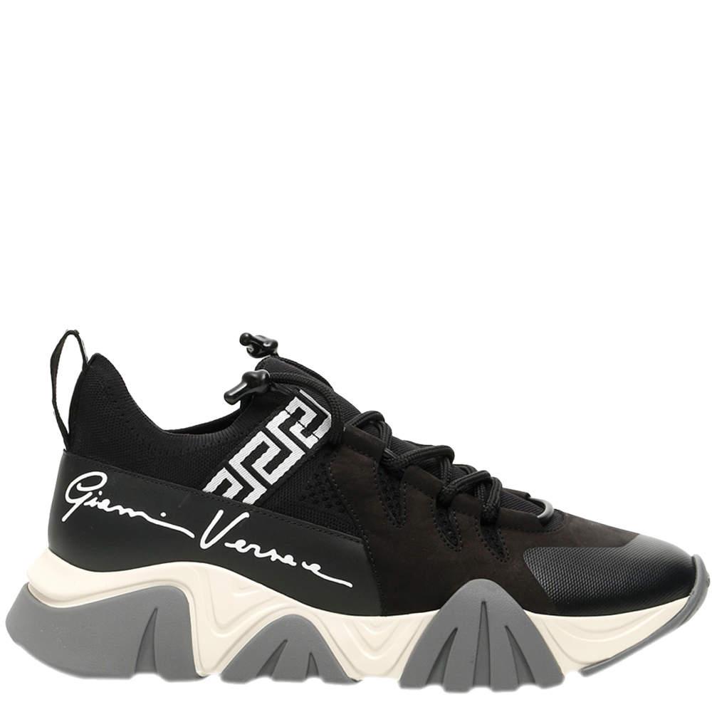 Versace Black/White/Grey Squalo Knit Sneakers Size EU 43